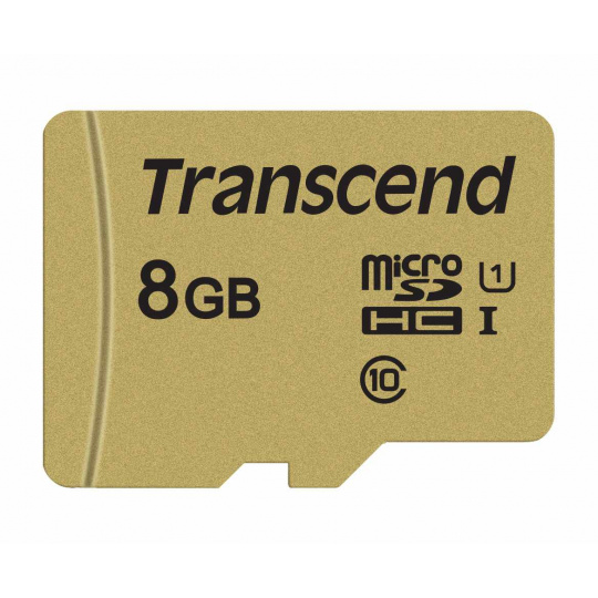 TRANSCEND MicroSDHC karta 8GB 500S, UHS-I U1 + adaptér