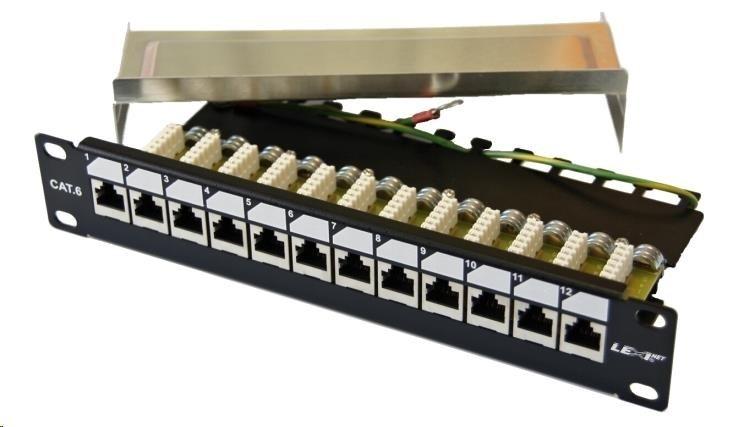 """10"""" Patch panel EXCLUSIVE osazený 12port, FTP (SFTP, STP), Cat 6, s hřebínkem"""