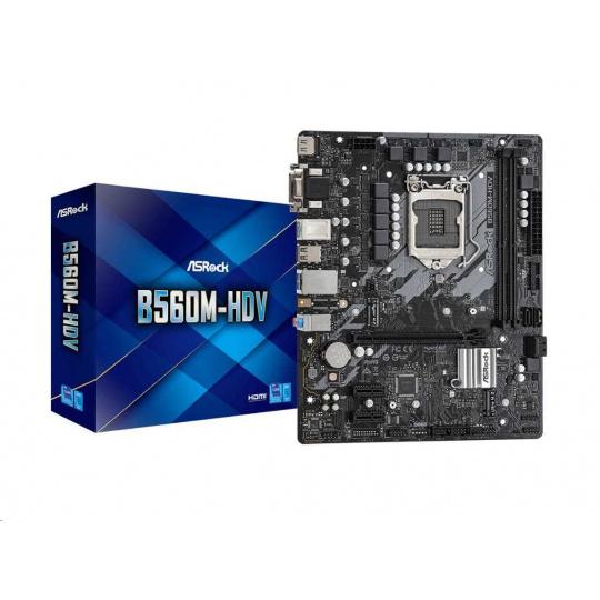 ASRock MB Sc LGA1200 B560M-HDV, Intel B560, 2xDDR4, 1xHDMI, 1xDVI, 1xVGA, mATX
