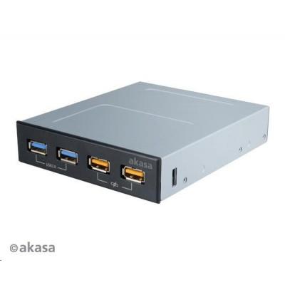 """AKASA HUB USB AK-ICR-25, do 3,5"""" pozice, 2x USB 3.0, 2 nabíjecí porty USB"""