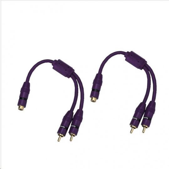 Hama Y-Adapter, 1 RCA (phono) Socket - 2 RCA Plugs, violet, set of 2 pces