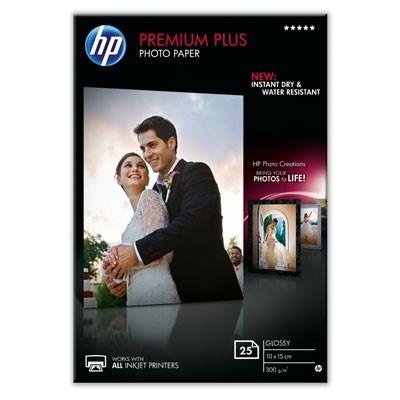 HP Premium Plus Glossy Photo Paper-25 sht/10 x 15 cm, 300 g/m2, CR677A