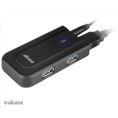AKASA HUB USB BULLET, 4x USB 3.0, externí, s napájecím adaptérem