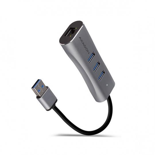 AXAGON HMA-GL3AP, USB 3.2 Gen 1 hub, porty 3x USB-A + Gigabit Ethernet, kovový, micro USB nap. konektor, kabel USB-A 20c