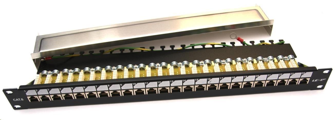 """19"""" Patch panel EXCLUSIVE osazený 24port, FTP (SFTP, STP), Cat 6, s hřebínkem"""