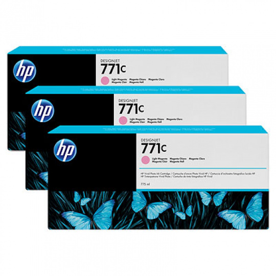 HP 771C Light Magenta DJ Ink Cart, 775 ml, 3-pack, B6Y35A