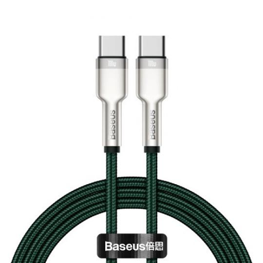 Baseus Cafule Series nabíjecí / datový kabel USB-C samec na USB-C samec s kovovými koncovkami 100W 1m, zelená