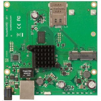 MikroTik RouterBOARD RBM11G, dual-core 880MHz, 256MB DDR3, 1x GLAN, 1x mini-PCIe, 1xSIM slot, vč. L4