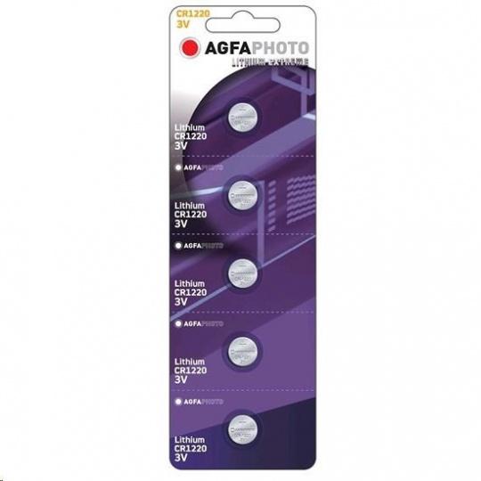 AgfaPhoto knoflíková lithiová baterie CR1220, blistr 5ks
