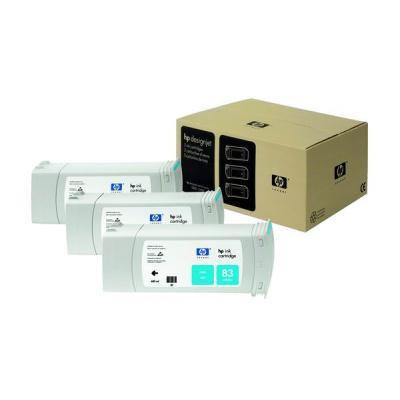 HP 83 Cyan UV DJ Ink Cart, 680 ml, 3-pack, C5073A
