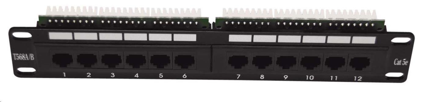 """10"""" Patch panel osazený 12port, UTP, Cat 5e"""
