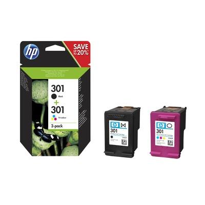HP 301 Ink Cartridge Combo 2-Pack, N9J72AE