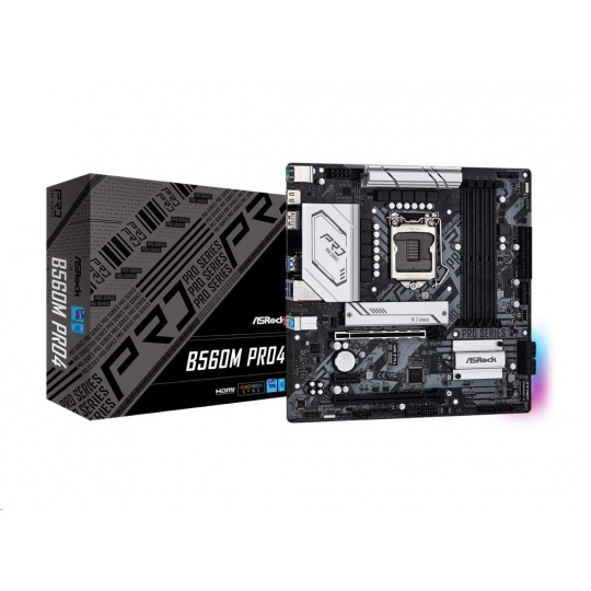 ASRock MB Sc LGA1200 B560M PRO4, Intel B560, 4xDDR4, 1xDP, 1xHDMI, mATX